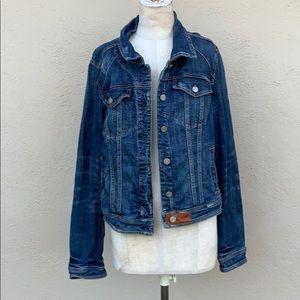 Distressed Anthropologie denim jacket